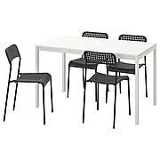 МЕЛЬТОРП / АДДЕ Стол и 4 стула, белый, черный, 125 см