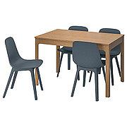 ЭКЕДАЛЕН / ОДГЕР Стол и 4 стула, дуб, синий, 120/180 см