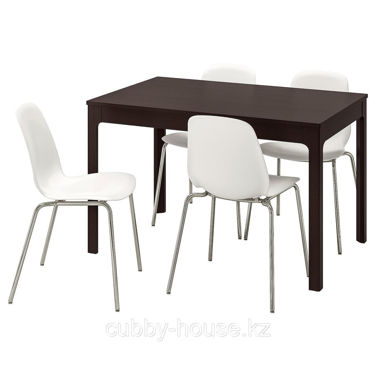ЭКЕДАЛЕН / ЛЕЙФ-АРНЕ Стол и 4 стула, темно-коричневый, белый, 120/180 см