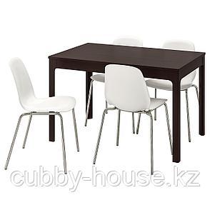 ЭКЕДАЛЕН / ЛЕЙФ-АРНЕ Стол и 4 стула, темно-коричневый, белый, 120/180 см, фото 2