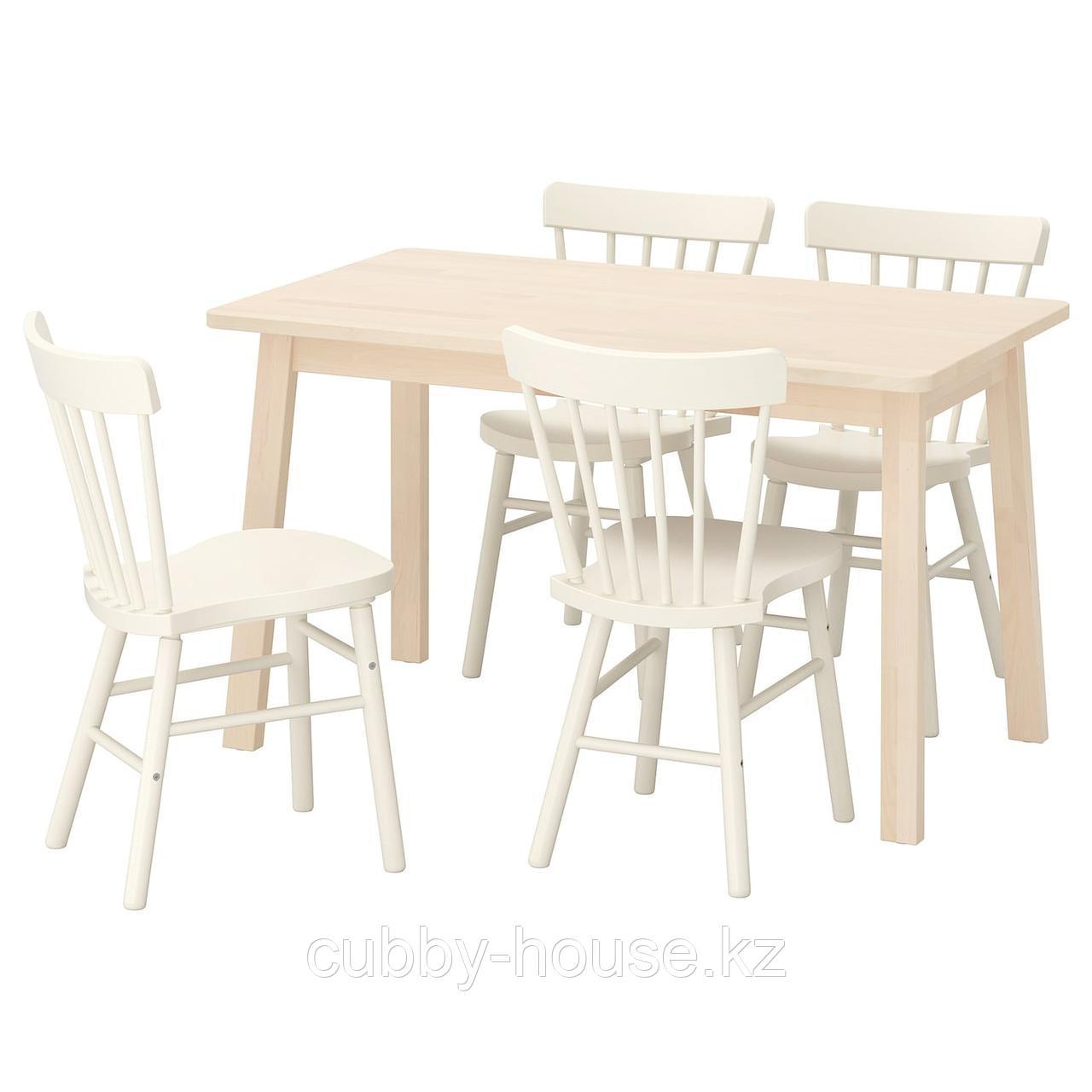НОРРОКЕР / НОРРАРИД Стол и 4 стула, береза белый, 125x74 см