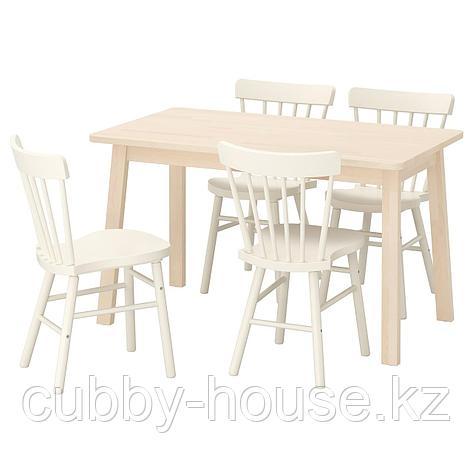 НОРРОКЕР / НОРРАРИД Стол и 4 стула, береза белый, 125x74 см, фото 2