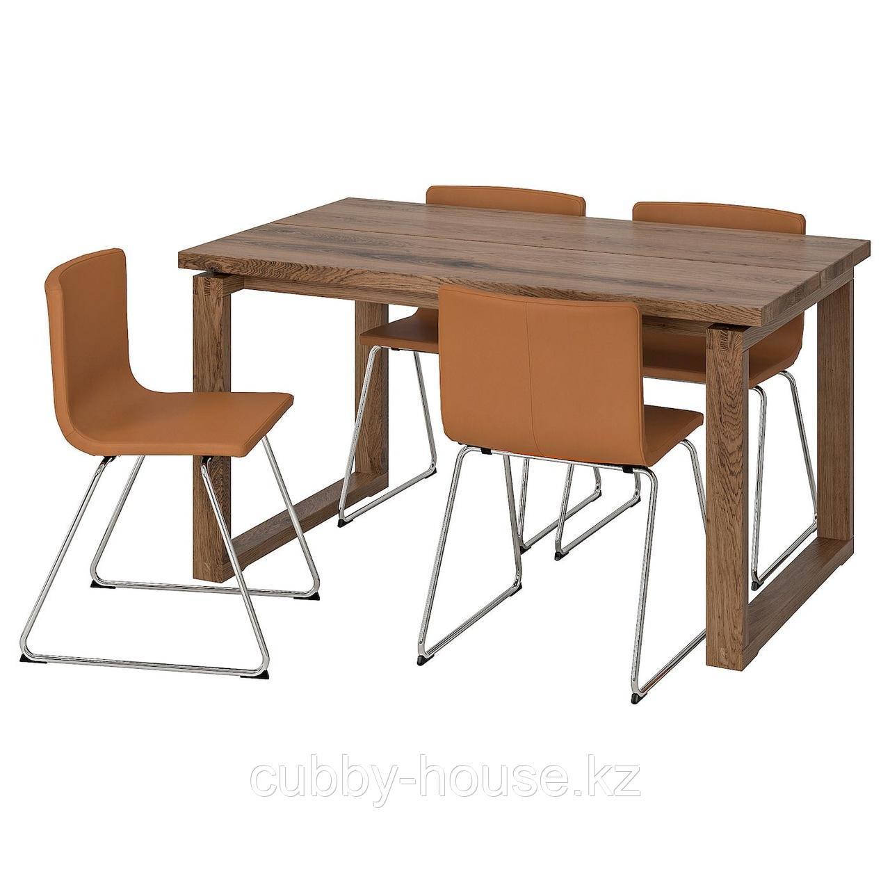 МОРБИЛОНГА / БЕРНГАРД Стол и 4 стула, дубовый шпон, Мьюк золотисто-коричневый, 140x85 см
