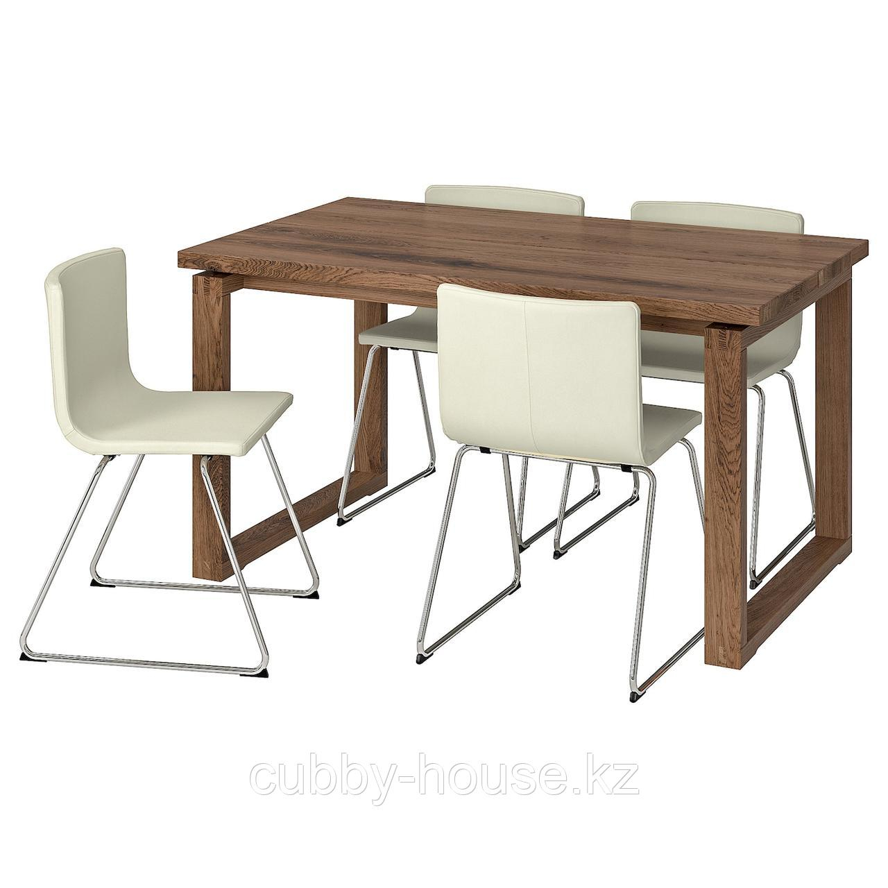 МОРБИЛОНГА / БЕРНГАРД Стол и 4 стула, коричневый, Мьюк белый, 140x85 см