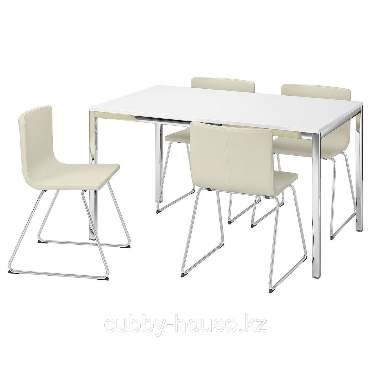 ТОРСБИ / БЕРНГАРД Стол и 4 стула, глянцевый белый, Кават белый, 135 см