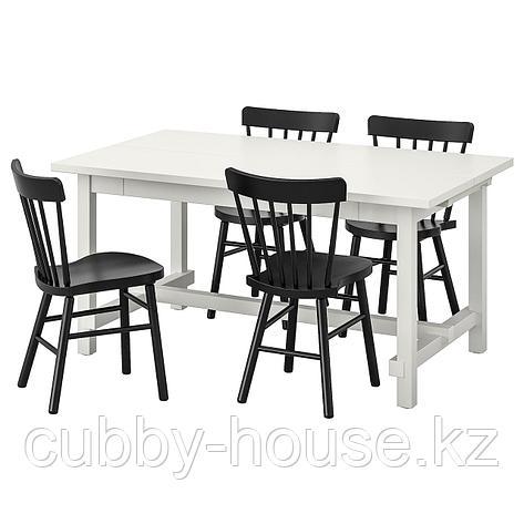 НОРДВИКЕН / НОРРАРИД Стол и 4 стула, белый, черный, 152/223x95 см, фото 2