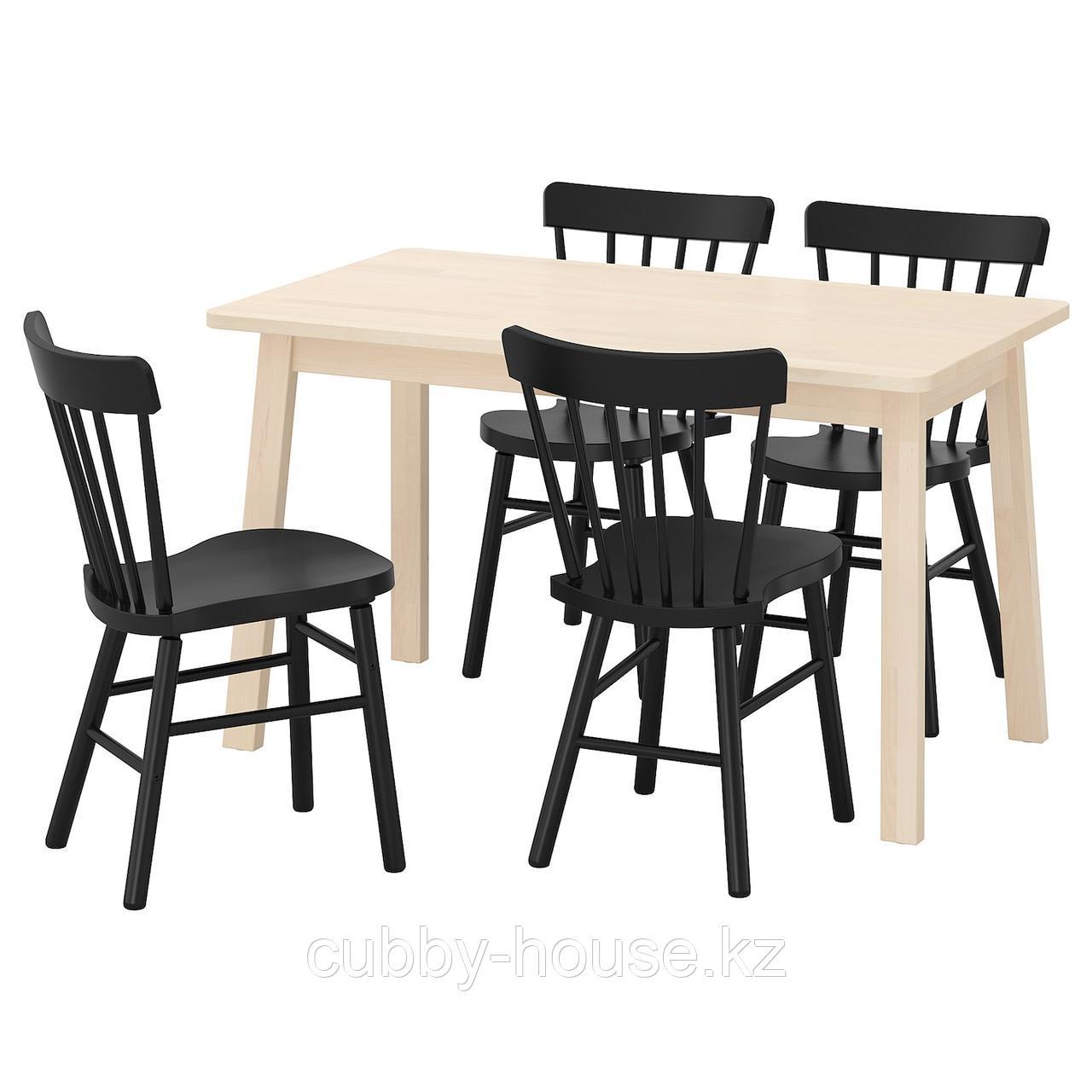 НОРРОКЕР / НОРРАРИД Стол и 4 стула, береза черный, 125x74 см