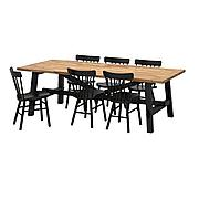 СКОГСТА / НОРРАРИД Стол и 6 стульев, акация, черный, 235x100 см