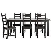 СТУРНЭС / КАУСТБИ Стол и 6 стульев, коричнево-чёрный, 201 см