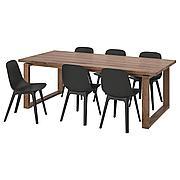 МОРБИЛОНГА / ОДГЕР Стол и 6 стульев, дубовый шпон, антрацит, 220x100 см