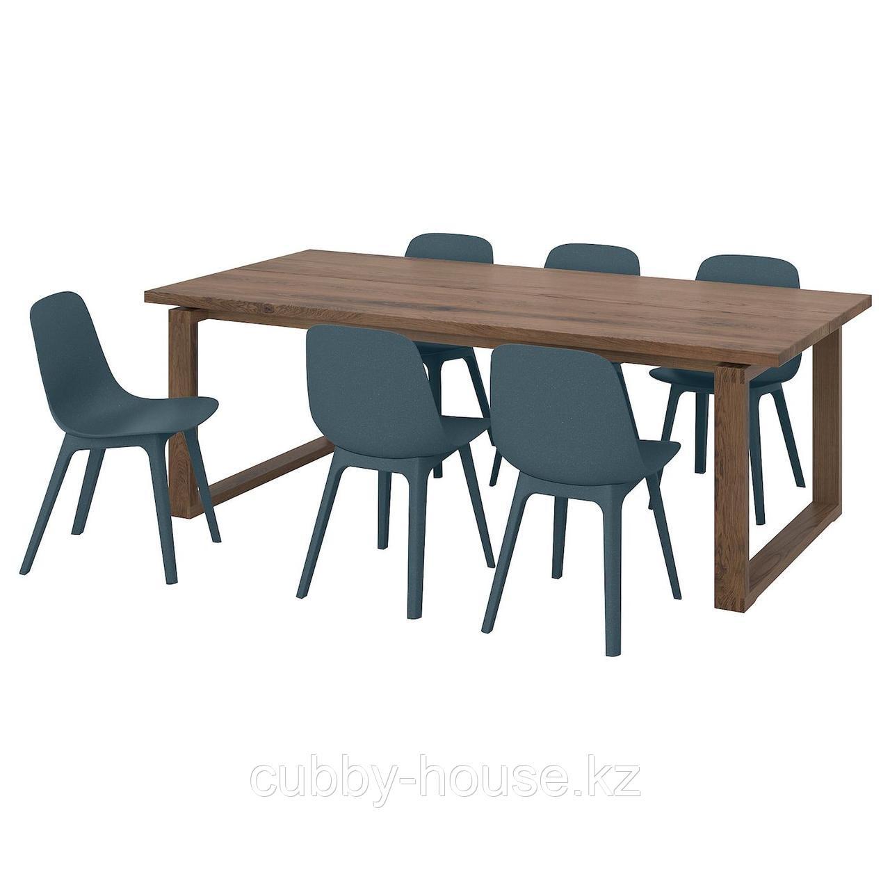 МОРБИЛОНГА / ОДГЕР Стол и 6 стульев, дубовый шпон, синий, 220x100 см