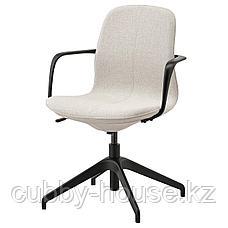 ЛОНГФЬЕЛЛЬ Рабочий стул с подлокотниками, Гуннаред бежевый, черный, фото 2