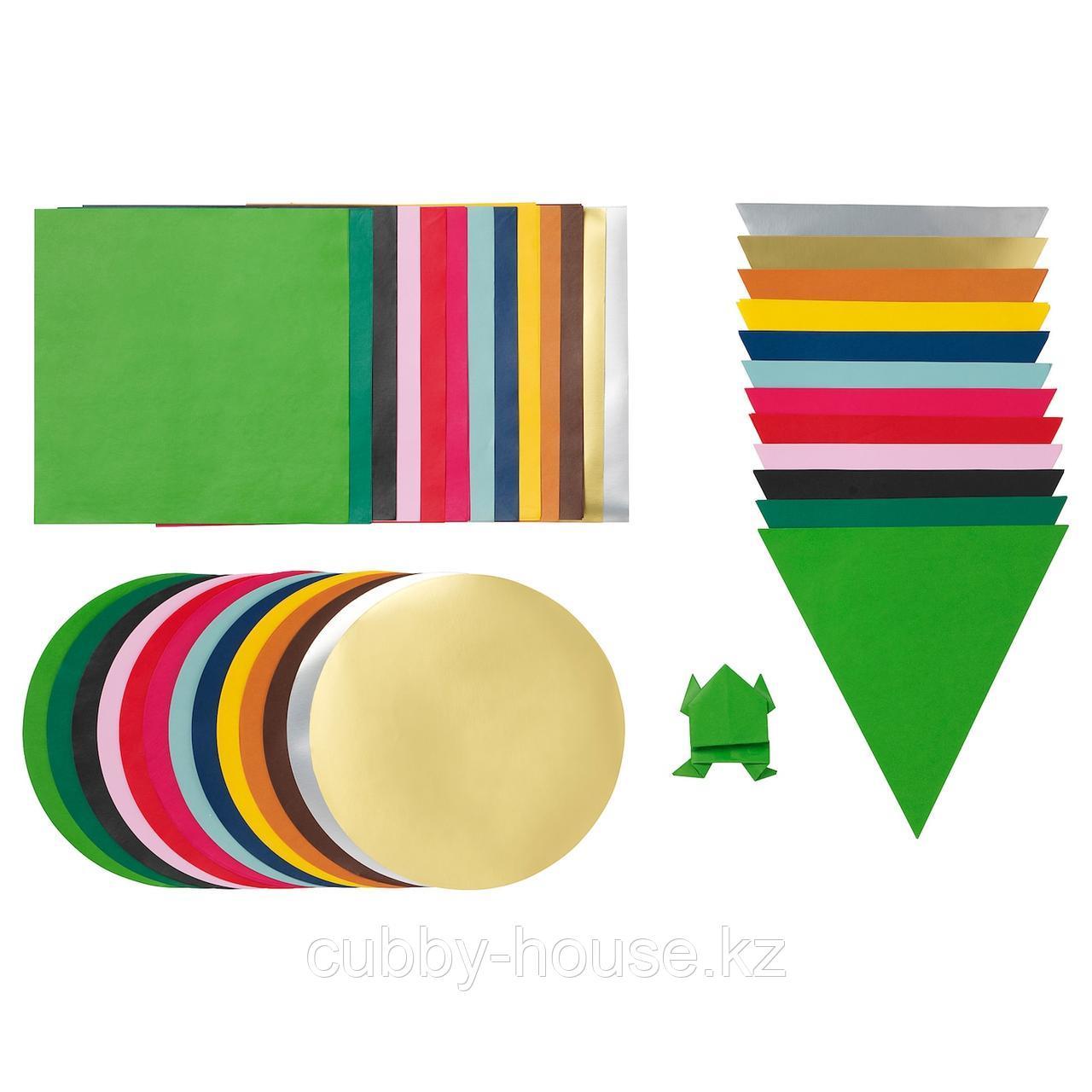 ЛУСТИГТ Бумага для оригами, разные цвета, разные формы различные формы
