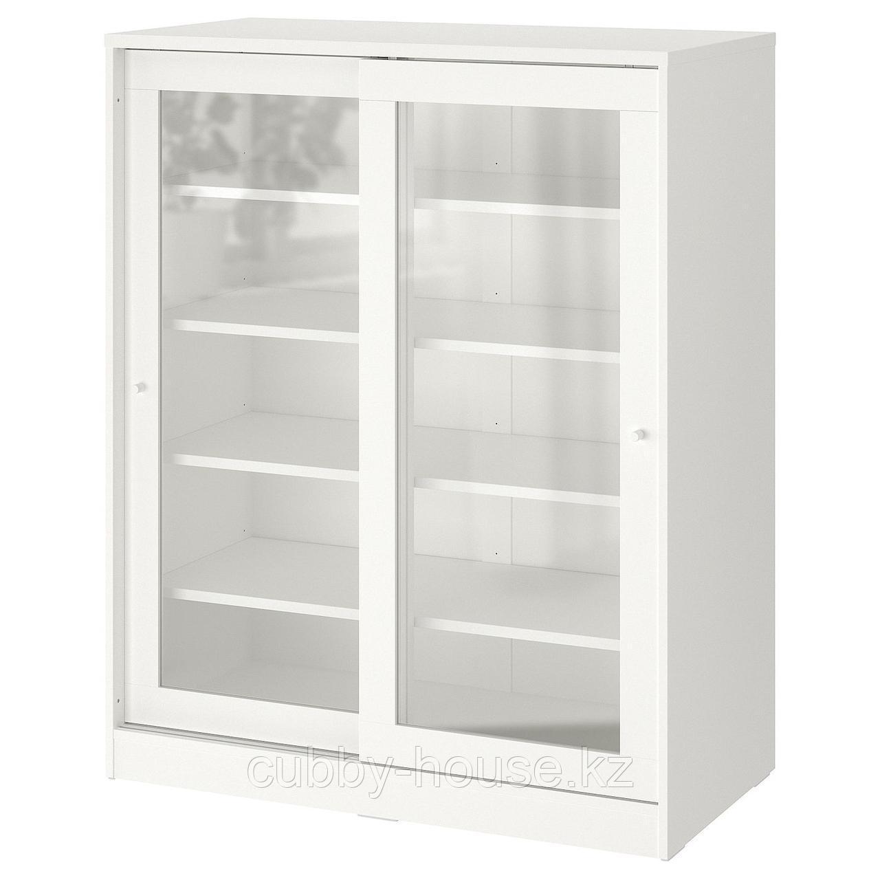 СЮВДЕ Шкаф со стеклянными дверцами, белый, 100x123 см
