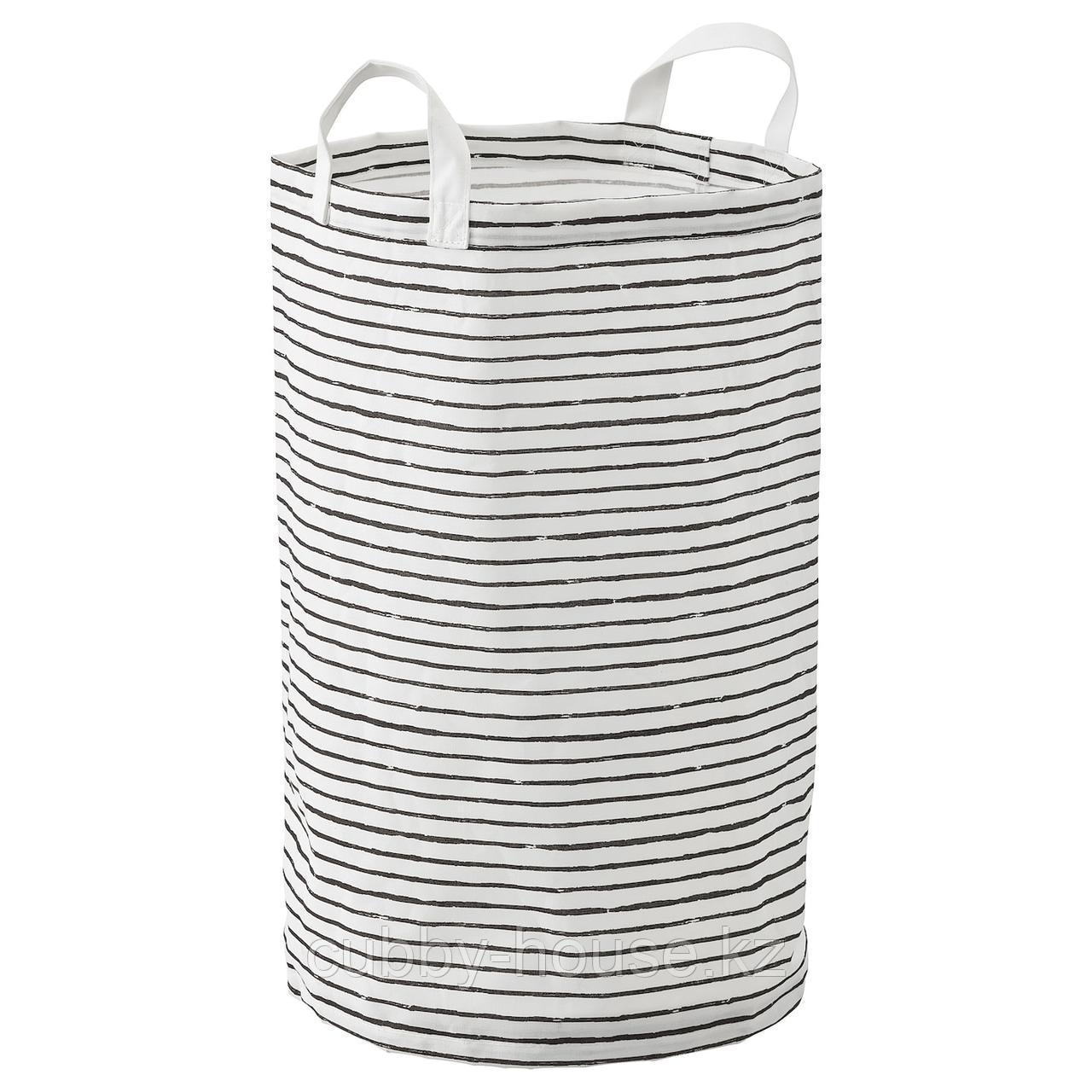КЛУНКА Мешок для белья, белый, черный, 60 л
