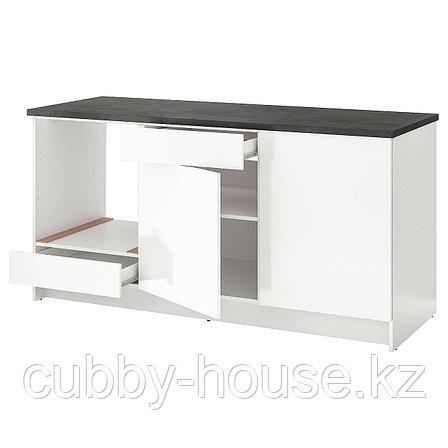 КНОКСХУЛЬТ Напольный шкаф с дверцами и ящиком, глянцевый белый, 180 см, фото 2