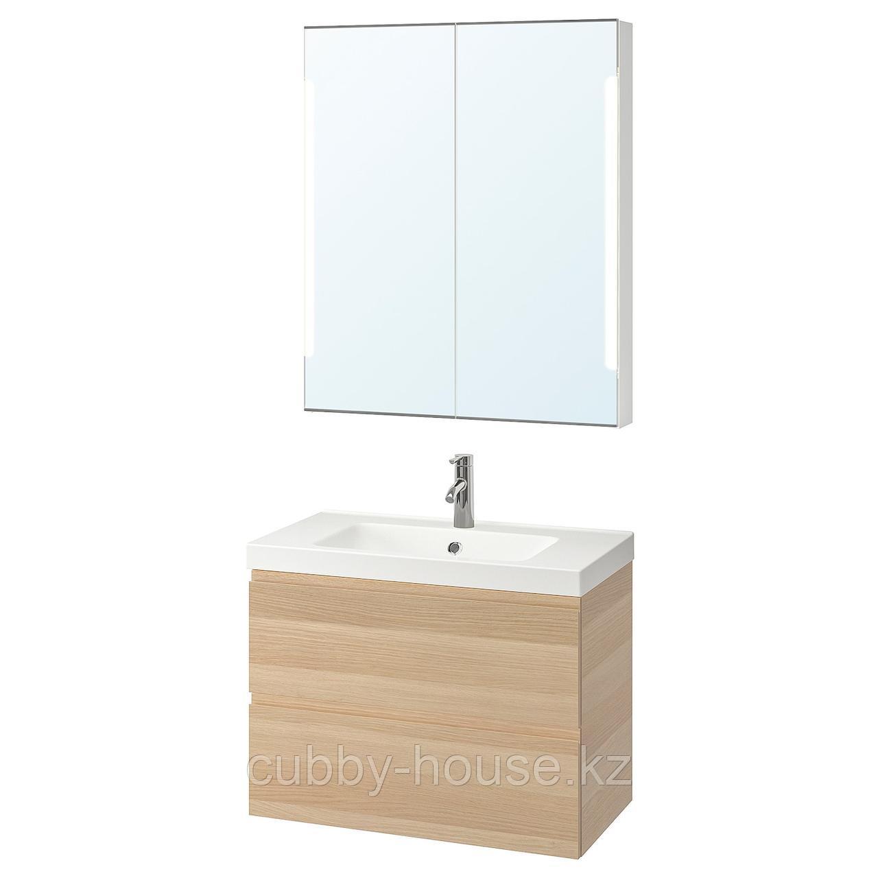 ГОДМОРГОН / ОДЕНСВИК Комплект мебели для ванной,4 предм., под беленый дуб, ДАЛЬШЕР смеситель, 83 см