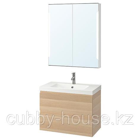 ГОДМОРГОН / ОДЕНСВИК Комплект мебели для ванной,4 предм., под беленый дуб, ДАЛЬШЕР смеситель, 83 см, фото 2