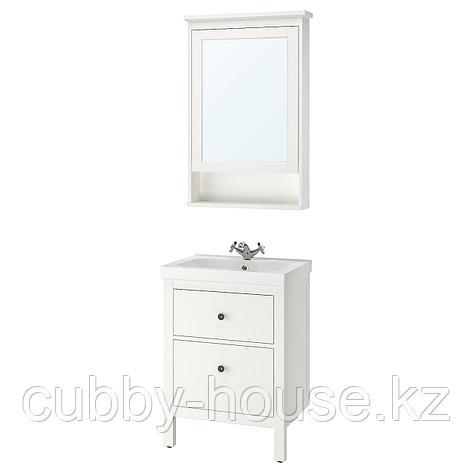 ХЕМНЭС / ОДЕНСВИК Комплект мебели для ванной,4 предм., белый, РУНШЕР смеситель, 63 см, фото 2