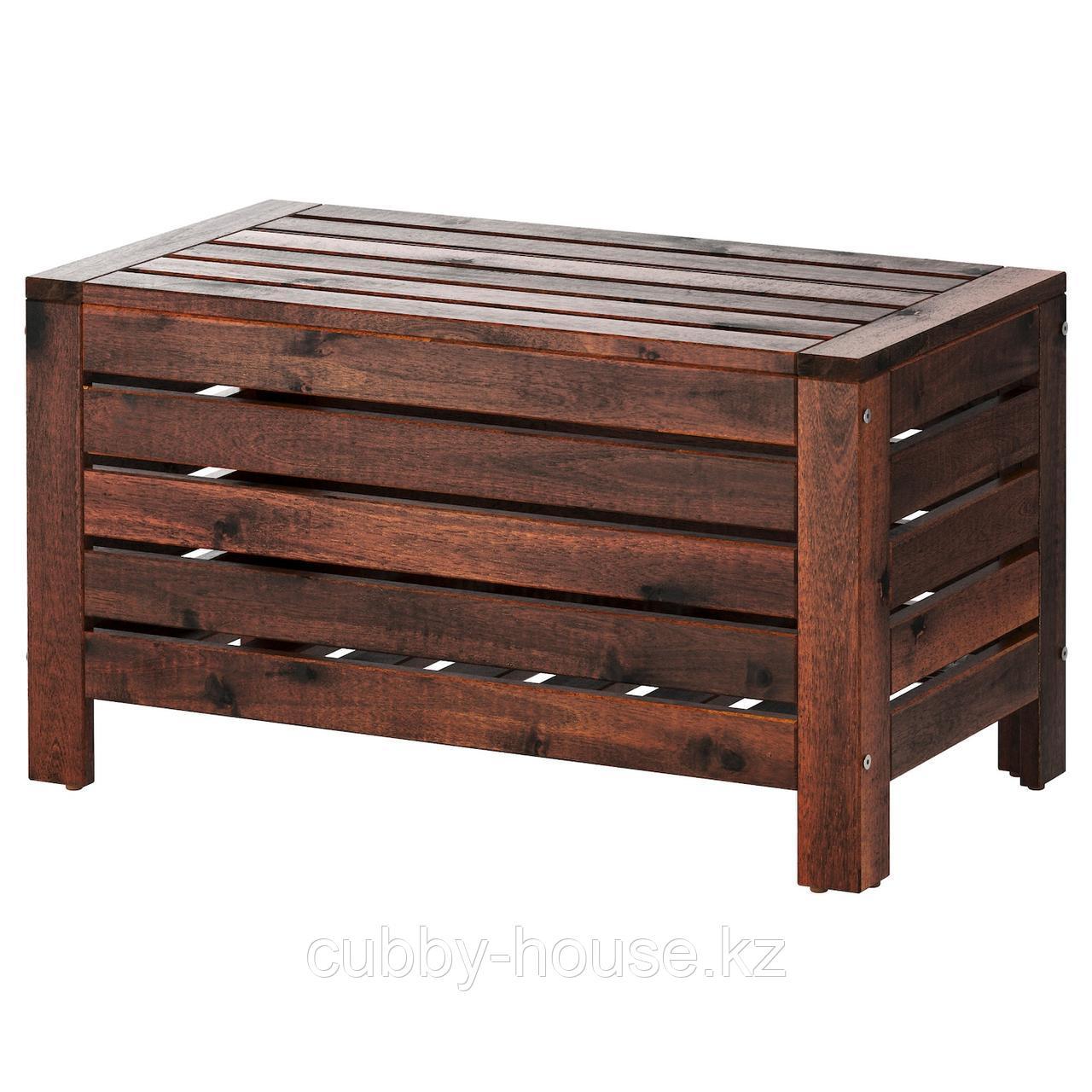 ЭПЛАРО Садовая скамья с ящиком, коричневая морилка, 80x41 см