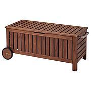ЭПЛАРО Садовая скамья с ящиком, коричневая морилка, 128x57 см