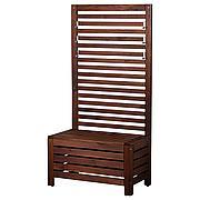 ЭПЛАРО Садовая скамья+панель, коричневая морилка, 80x44x158 см