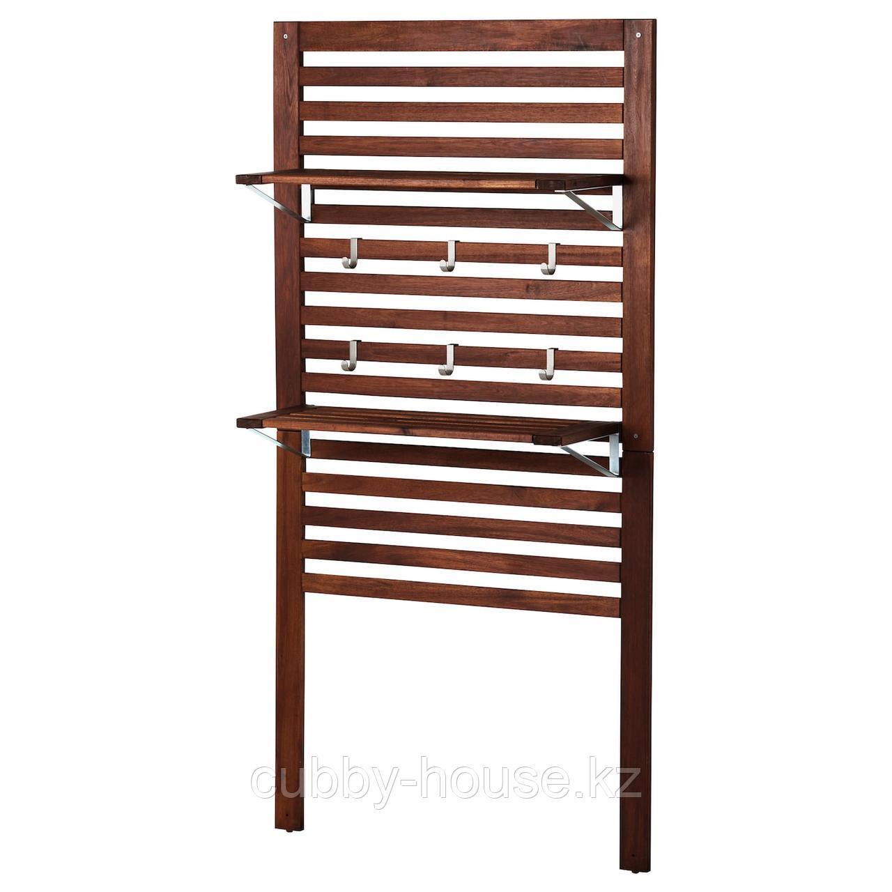 ЭПЛАРО Настенная панель+2 полки, коричневая морилка, 80x30x158 см