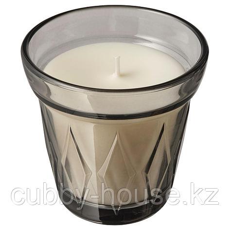 ВЭЛЬДОФТ Ароматическая свеча в стакане, серый Соленая карамель, серый, 8 см, фото 2