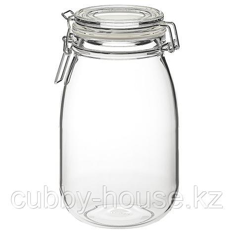 КОРКЕН Банка с крышкой, прозрачное стекло, 1.8 л, фото 2