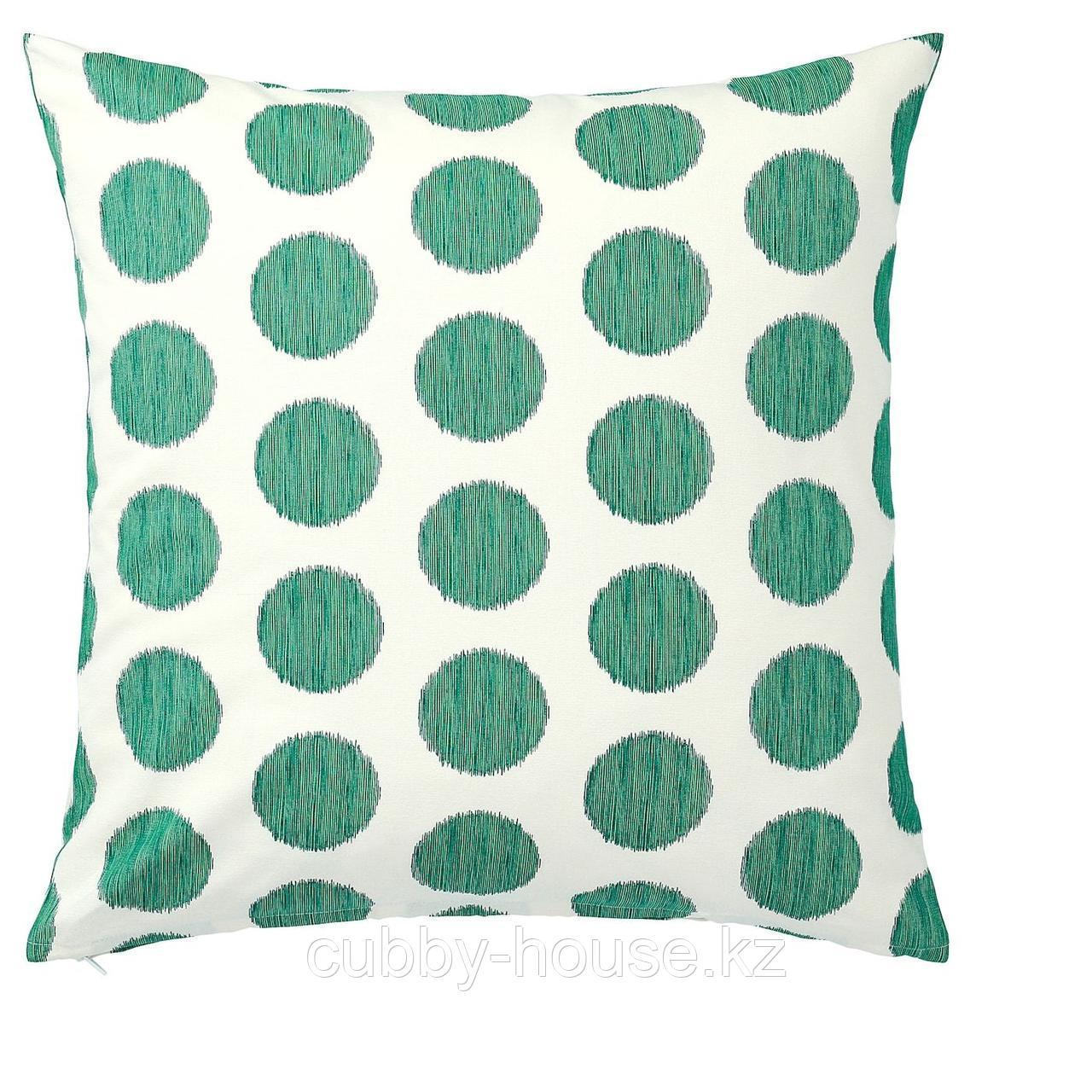 ОСАТИЛЬДА Чехол на подушку, неокрашенный темно-зеленый, точечный, 50x50 см