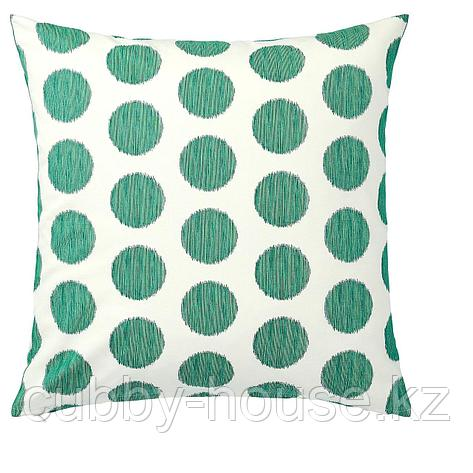 ОСАТИЛЬДА Чехол на подушку, неокрашенный темно-зеленый, точечный, 50x50 см, фото 2