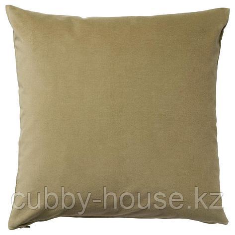 САНЕЛА Чехол на подушку, светлый оливково-зеленый, 50x50 см, фото 2
