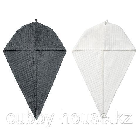 ТРЭТТЕН Полотенце для сушки волос, темно-серый, белый, фото 2