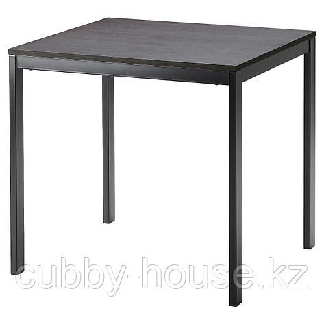 ВАНГСТА Раздвижной стол, черный, темно-коричневый, 80/120x70 см, фото 2