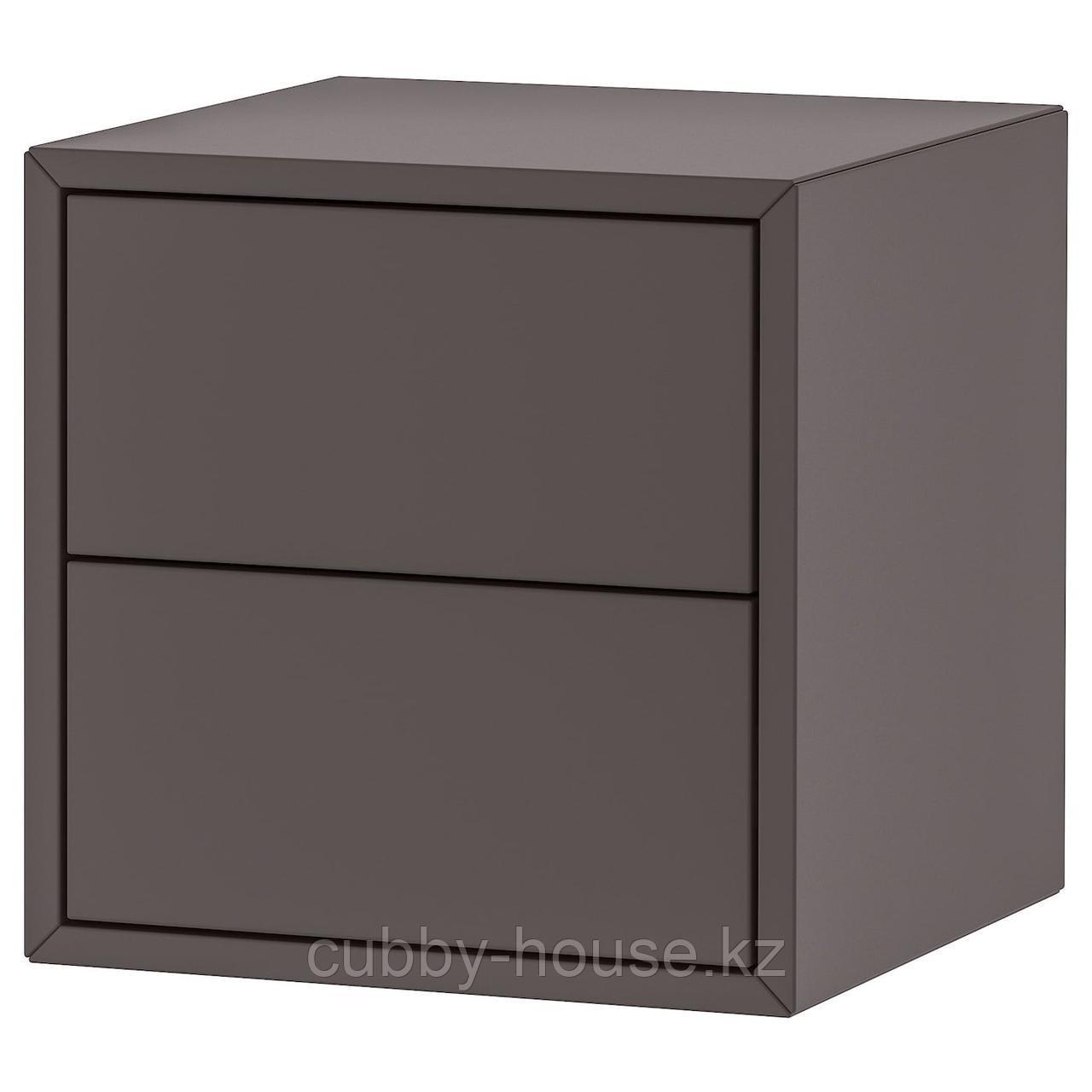 ЭКЕТ Шкаф с 2 ящиками, темно-серый, 35x35x35 см