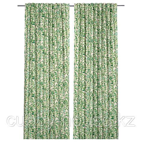 ФЛЕНЁРТ Гардины, 1 пара, естественный, листья, 145x300 см, фото 2