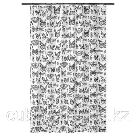 СОММАРМАЛЬВА Штора для ванной, белый, темно-серый, 180x200 см, фото 2