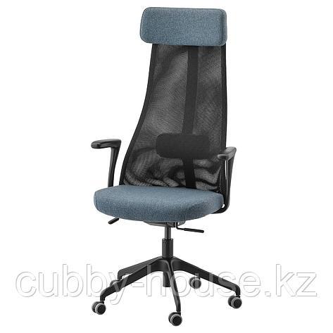 ЭРВФЬЕЛЛЕТ Рабочий стул с подлокотниками, Гуннаред синий, черный, фото 2