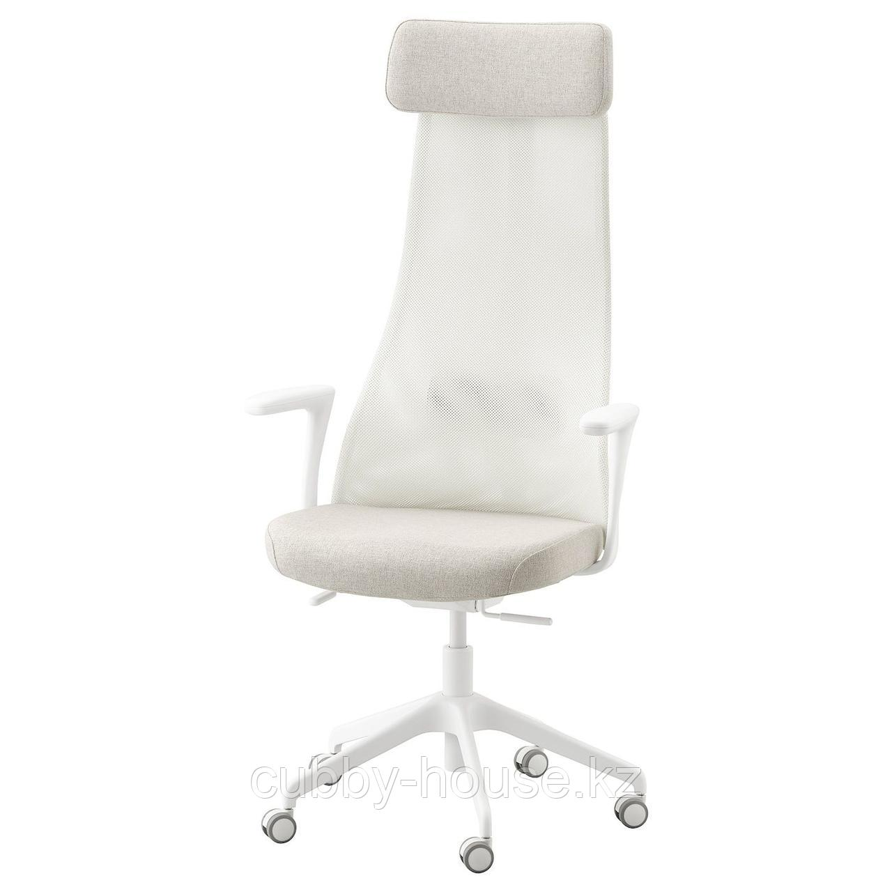 ЭРВФЬЕЛЛЕТ Вращающееся легкое кресло, Гуннаред бежевый, белый