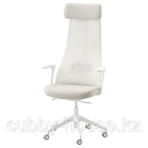 ЭРВФЬЕЛЛЕТ Вращающееся легкое кресло, Гуннаред бежевый, белый, фото 2