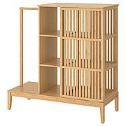 НОРДКИЗА Открытый гардероб/раздвижная дверь, бамбук, 120x123 см
