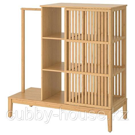 НОРДКИЗА Открытый гардероб/раздвижная дверь, бамбук, 120x123 см, фото 2