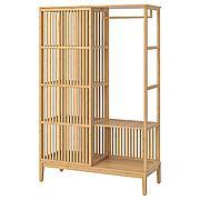 НОРДКИЗА Открытый гардероб/раздвижная дверь, бамбук, 120x186 см