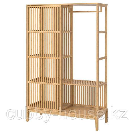НОРДКИЗА Открытый гардероб/раздвижная дверь, бамбук, 120x186 см, фото 2