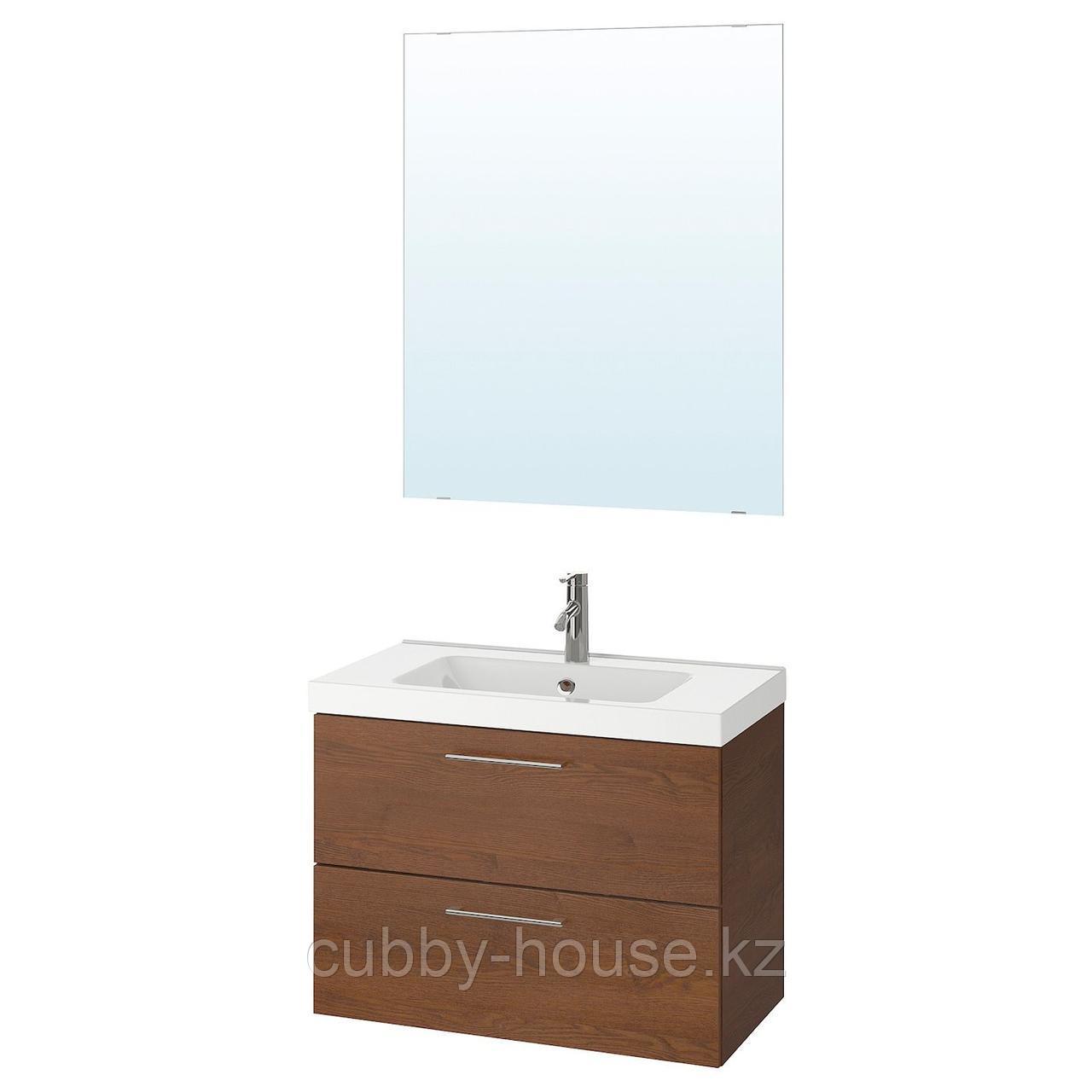 ГОДМОРГОН / ОДЕНСВИК Комплект мебели для ванной,4 предм., под коричневый мореный ясень, ДАЛЬШЕР смеситель,