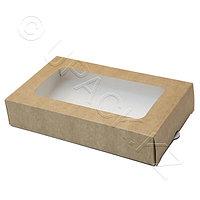 Россия Упаковка крафт/ламин 20,0х12,0х4,0см 1000мл с окном и выдвижным вкладышем FoodToGo, фото 1