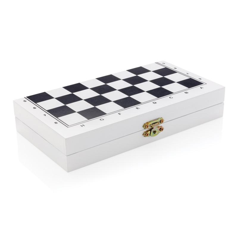 Набор настольных игр 3 в 1 в деревянной коробке, белый, Длина 20 см., ширина 21 см., высота 1,8 см., P940.053