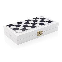 Набор настольных игр 3 в 1 в деревянной коробке, белый, Длина 20 см., ширина 21 см., высота 1,8 см., P940.053, фото 1