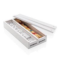 Набор настольных игр Микадо/Домино в деревянной коробке, белый, Длина 20 см., ширина 9,2 см., высота 3,3 см.,
