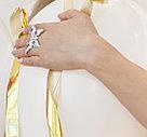 """Серебряное кольцо """"Бабочка"""". Вставка: белые и розовые фианиты, вес: 11,5 гр, размер: 19, диаметр: 5, фото 2"""